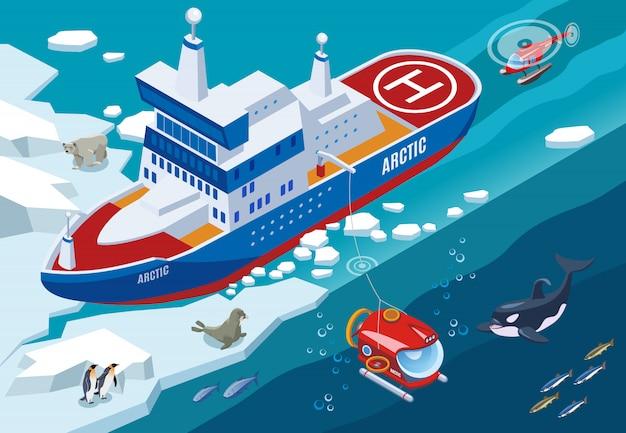 Ледокол с подводной лодкой и вертолетом во время арктических исследований северных морских животных изометрической иллюстрации