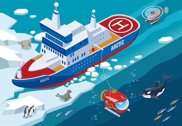 Ice breaker with submarine and helicopter during arctic research northern sea animals isometric illustration