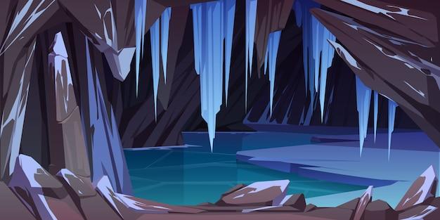 Ледяная пещера в горах, грот с замерзшим озером