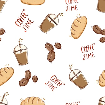 Ice coffee and bread in seamless pattern with doodle style