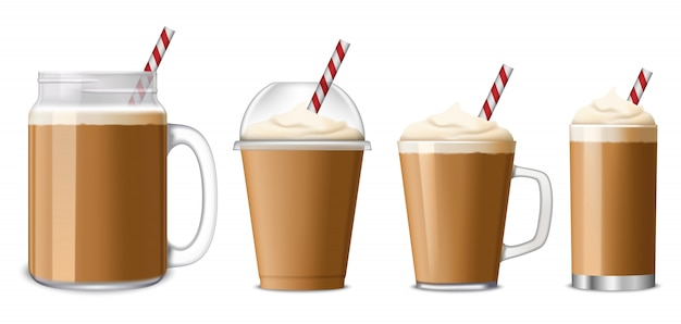 Ice coffee icon set