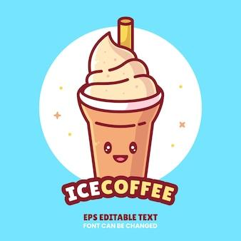 레스토랑에 대 한 평면 스타일에 아이스 커피 로고 벡터 아이콘 그림 프리미엄 커피 만화 로고