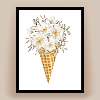 水彩画の美しいマグノリアの花とアイスコーン