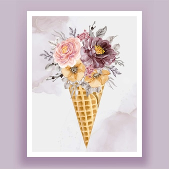 Ice cone with watercolor flower purple pink vintage