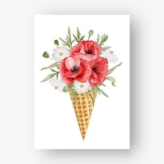 수채화 꽃 붉은 양 귀 비와 아이스 콘
