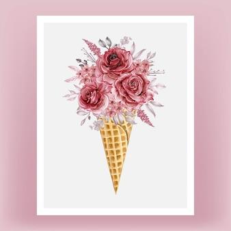 Ледяной конус с акварельным цветком роза бордовая иллюстрация