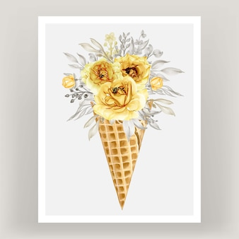 Ice cone with watercolor flower rose gold yellow