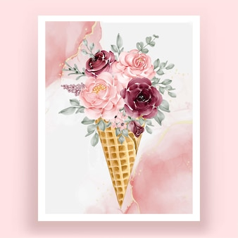 Ice cone with watercolor flower rose pink burgundy