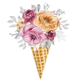 Ice cone with watercolor flower rose pink illustration