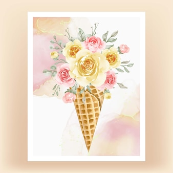 수채화 꽃 노란 복숭아와 얼음 콘