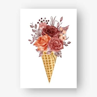 수채화 장미와 아이스 콘 가을 가을