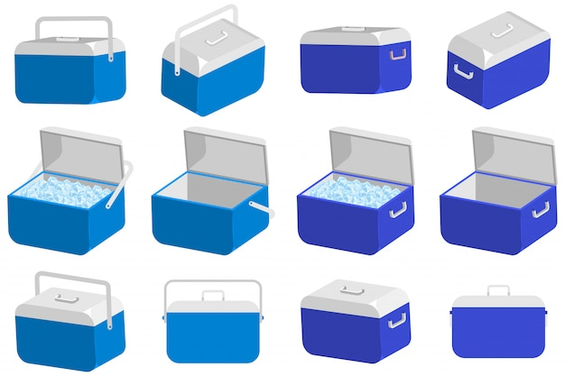 Ice cooler box vector set isolated on a white background.