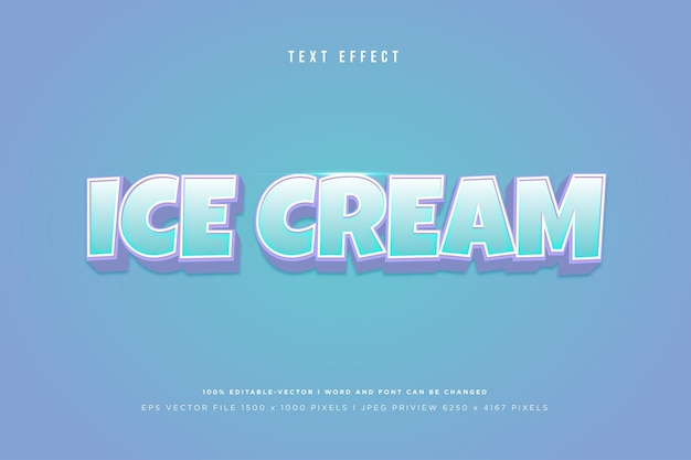 Ice cream 3d text effect on blue