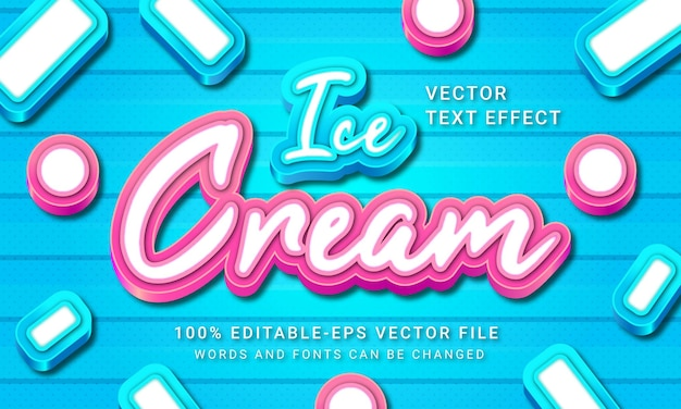 Ice cream 3d text style effect with blue and pink color