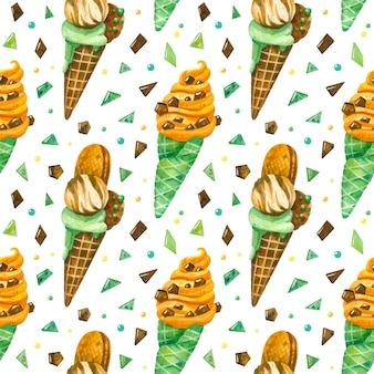 아이스크림과 초콜릿 칩 수채화 원활한 패턴 생일 배경