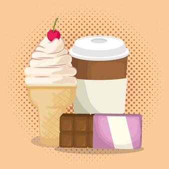 アイスクリームとチョコレートバーとコーヒー