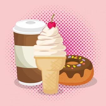 アイスクリームとコーヒーとドーナツ