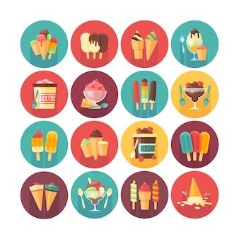 アイスクリームと冷凍デザートとお菓子のアイコンコレクション。長い影で設定されたサークルのアイコン。食べ物や飲み物。