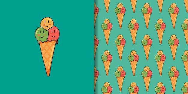 アイスクリームと緑のシームレスパターン