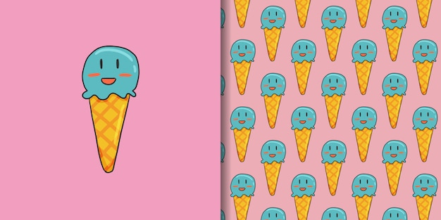 アイスクリームとピンクのシームレスパターン