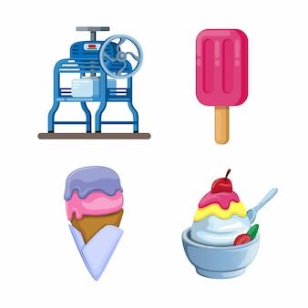 アイスクリームとかき氷のセット。