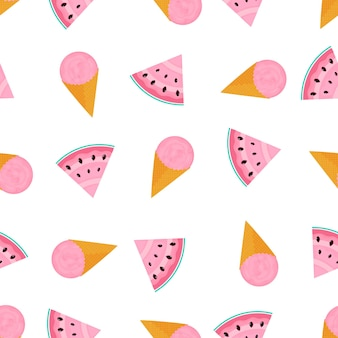 Ice cream ball in a waffle cone and and a slice of watermelon. summer seamless pattern. used for design surfaces, fabrics, textiles, packaging paper, wallpaper.