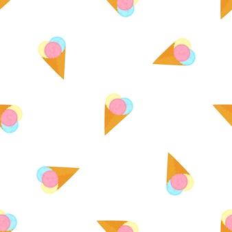 와플 콘에 아이스크림 공. 여름 완벽 한 패턴입니다.