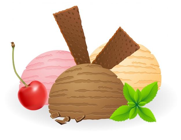 Ice cream balls vector illustration