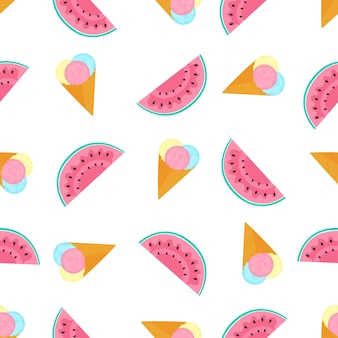 Ice cream balls in a waffle cone and watermelon. summer seamless pattern. used for design surfaces, fabrics, textiles, packaging paper, wallpaper.