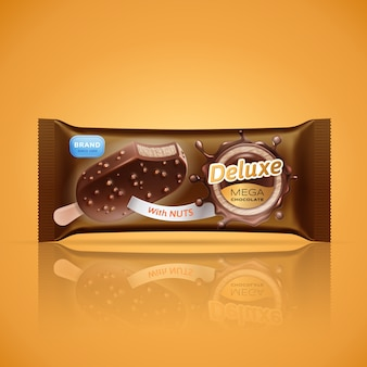 Ice cream bar packaging design isolated on orange background