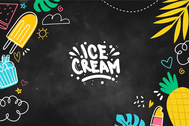 Ice cream blackboard background