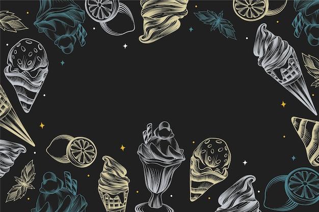 アイスクリーム黒板背景