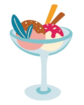 Ice cream in a bowl. cold, fresh dessert with different flavors with two wafer straws. summer desserts. milk based product isolated icon. cartoon vector illustration