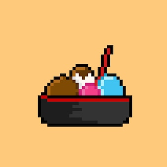Ice cream in bowl with pixel art style