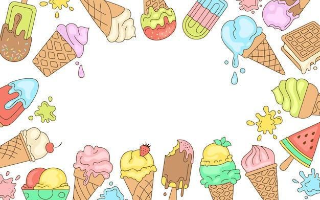 アイスクリームの明るい線のグリーティングカード、テキストの甘い背景。チョコレート、バニラ落書きアイスクリームコーンフルーツ、ミント、ベリー