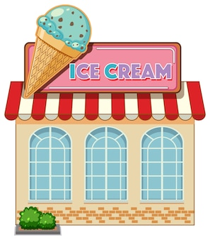 Ice cream cafe with big ice cream logo isolated
