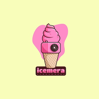 Ice cream and camera character mascot logo design vector illustration