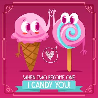 Disegno di sfondo del gelato e della caramella