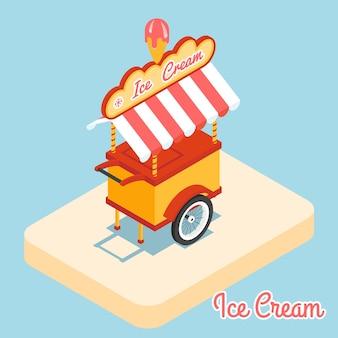 아이스크림 카트 3d 평면 아이콘입니다. 달콤한 디저트, 상점 또는 키오스크, 냉동 제품.