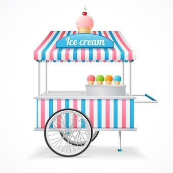 Карточка рынка тележки мороженого изолированные