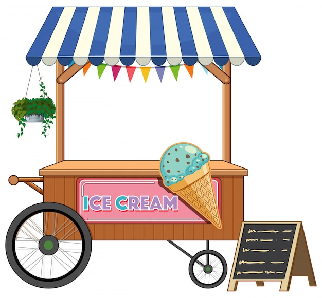 Ice cream cart shop cartoon style isolated