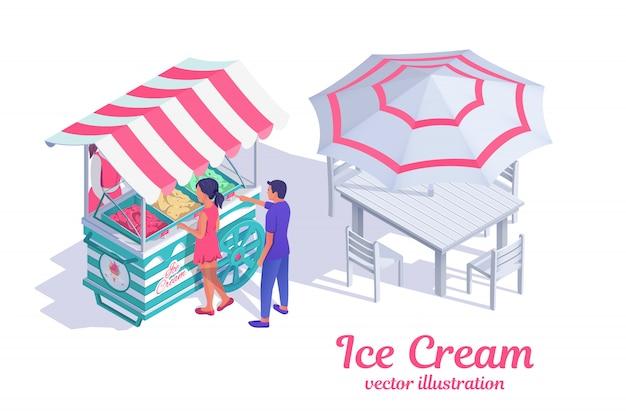 オーニング付きアイスクリームカート。女の子と男の子はスタンドにアイスクリームを買う