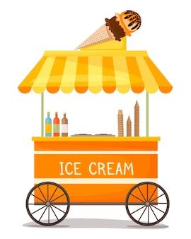 Ice cream cart with ice cream cone on the roof street kiosk