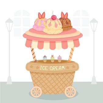 Ice cream cart Premium Vector