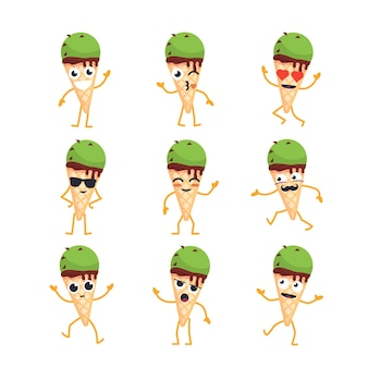 Ice cream cartoon character - modern vector template set of mascot illustrations. gift images of an ice cream dancing, smiling, having a good time. emoticons, love, coolness, surprise, emotions
