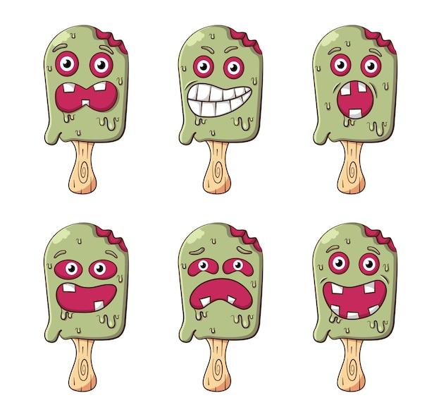 Набор символов мороженого с другим страшным выражением лица