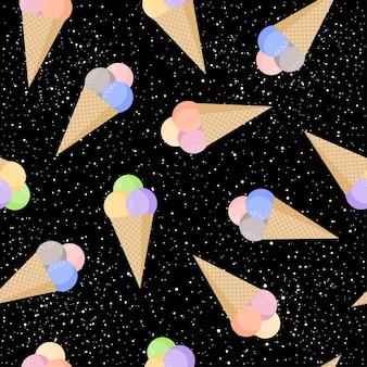 Мороженое по-детски бесшовный фон фон. мультяшное мороженое, изолированное на черном шаблоне для открытки, обоев, альбома, альбома для вырезок, праздничной упаковочной бумаги, текстильной ткани, одежды, дизайна футболки и т. д.