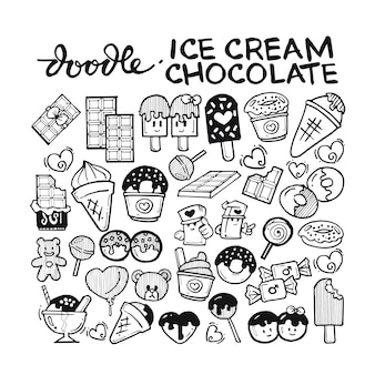 Ice cream, chocolate doodle hand drawn