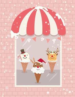 Ice cream christmas window shop
