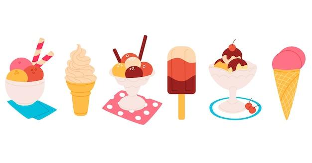 漫画のデザインのアイスクリームコレクション